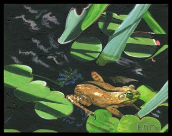 Riparian Realm Original Acrylic Painting Frog Pond Shadows Riverbank