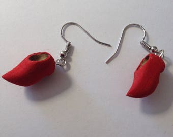 Wooden shoes earrings handcarved