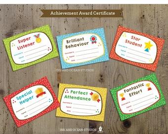 Printable teacher certificate, achievment awards for class, school or home school.