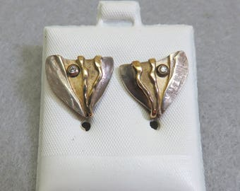 Artisan Gold and Silver Post Style Pierced Earrings, Vintage