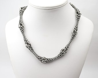Persian Ripple Necklace - Stainless Steel - Stunning Durable Metal Necklace - Chainmaille - Elegant Tapered Waves - Luxury Chain Mail