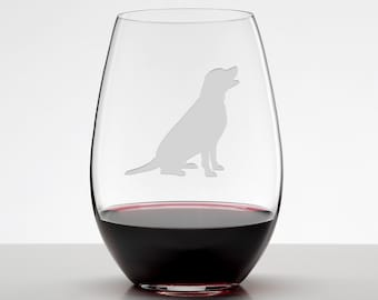 Labrador Gifts, Black Lab Sitting, Yellow lab, Retriever, Etched Stemless Wineglass, Dog Lover Gift