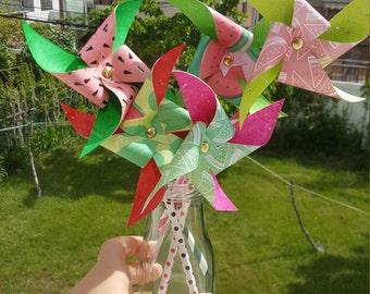 Paper Pinwheels - Watermelon Theme (Set of 5)