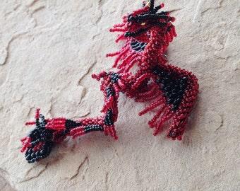Red & Black Hanging Dragon, Pendant, Suncatcher, Fantasy Wedding, Inspiring Pendant, Cosplay-Larp Jewelry, Gaming Geek Gift, Dragons to Wear