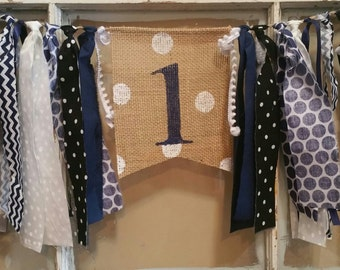 Navy Banner, Navy High Chair Banner, Navy Blue Party Decorations, Navy Birthday Decor, Baby Boy Banner, Baby Boy Sign