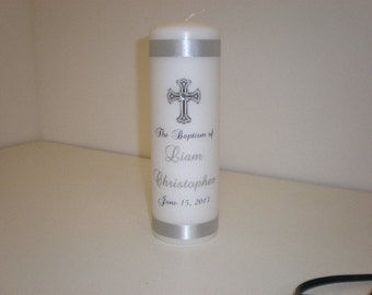 personalized Baptism Candle with Cross and Gem