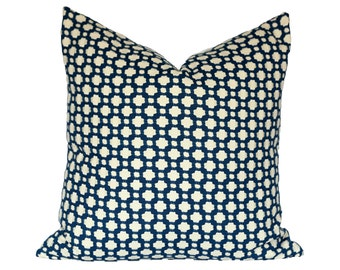 Betwixt Indigo/Ivory designer pillow covers - Made to Order - Celerie Kemble for Schumacher