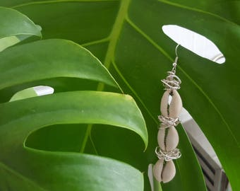 COWRIE SHELL, Silver Wire Wrapped Drop Earrings