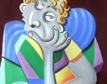 To Be Or Not To Be Print Cubism Thinker Man Anthony Falbo