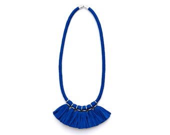 Blue Tassel Necklace, Statement Necklace Royal Blue, Colorful Textile Necklace, Unique Gift For Her, Fringe Necklace, Fabric Jewelry