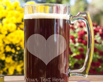 Heart Customizable Etched Glass Beer Stein Mug Glassware Gift