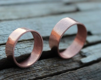 Copper Wedding Band, Wide Copper Band Ring, Men, Women, Eco Reclaimed Recycled Handmade Hand Forged Copper Ring, Rustic, Minimalist Ring