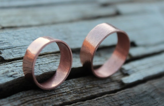 Copper Wedding Band Wide Copper Band Ring Men Women Eco