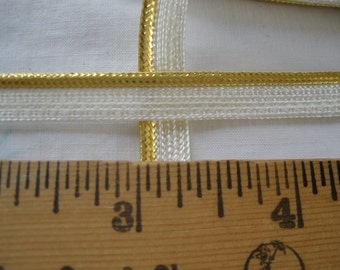 "Gold Metallic & White Piping Lip Cord Trim 5/16"" Edging mini Mixed Media Lamp Shades Crazy Quilts Pillows Lip Cord choose yards Lurex"