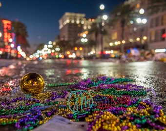 Mardis Gras, New Orleans LA, Bokeh, Beads, French Quarter Art