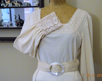 """Ivory 70's Lace Maxi Dress,size 38"""" chest, excellent condition,Vintage hand made,Woven Braid Belt with Big Awesome Lucite Belt Buckle"""