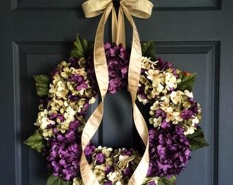 Spring Wreaths | Blended Hydrangea Wreath | Front Door Wreaths | Wreaths | Spring Door Wreath | Summer Wreath | Door Wreath
