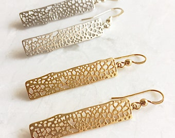 gold rectangle earrings, gold earrings, holiday gift, gift for her