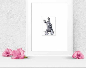 ORIGINAL Art Pocket RHINO Rhinoceros ACEO Illustration