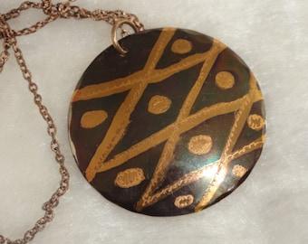 Copper Pendant Necklace Iridescent Copper Necklace Iridescent Copper Pendant Necklace Copper Jewelry Engraved Copper Pendant Copper Necklace