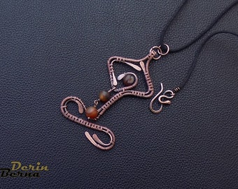 Wire wrapping copper agate Yogi Pendant,Yoga pendant necklace,Yoga lover pendants,Wire wrapping pendant jewelry,yoga necklace,Chakra pendant