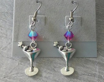 Martini Glass and Swarovski Crystal Earrings