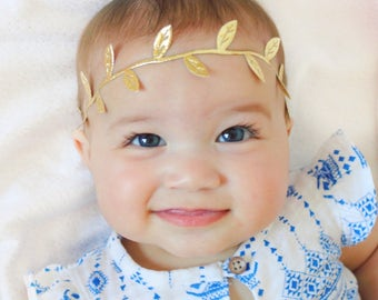 Toddler Headband, Gold Headband, Baby Headbands, Baby Girl Headband, Newborn Headband, Infant Headband, Gold Leaf Baby Headband