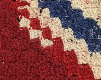 Red White and Blue USA 1 Dishcloth