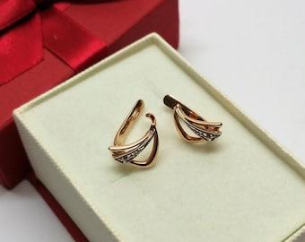 Earrings Klappcreolen Red gold 585 Crystal Stainless OR100