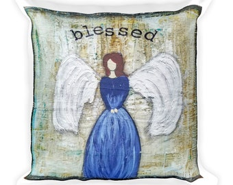 Square Pillow, Blessed Angel Mixed Media Art