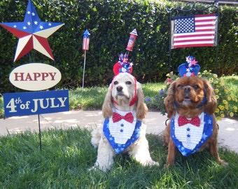 4th of July - TUXEDO STYLE BANDANA  - Made Custom To Fit  Any Size Dog - 9.99-14.99