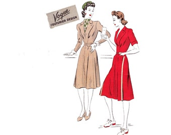 Vogue Couturier Design 383 RARE Womens Shirtdress 40s Vintage Sewing Pattern Size 14 Bust 32 inches