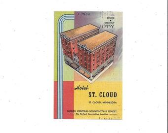 1947 Linen Postcard of Hotel St. Cloud, Minnesota, Posted, 1 Cent Stamp, Vintage Travel Souvenir, Ephemera, Art Deco, Hand Written Message
