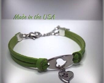 Open heart bracelet. Heart charm bracelet. Leather bracelet. Personalized bracelet. Gift For Her.