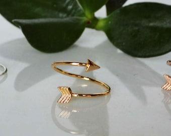 silver arrow ring, Adjustable Arrow Ring w gift box, gold arrow ring, Rose Gold arrow ring, silver adjustable arrow ring, meaning card avail