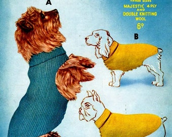 PDF Knitting Patterns for 3 Snug and Smart Dogs Coats - Instant Download