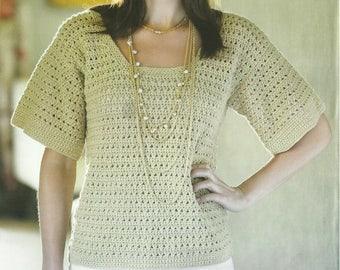 Crochet Summer Scoop Neck Top PDF Crochet Pattern Instant Download