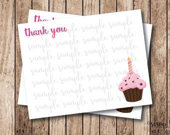 Instant Download . Printable Thank You Cards . Cupcake Thank You Cards, Printable Cupcake Cards