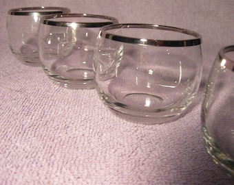 Vintage Set of Four Small Barware Glasses  Roly Poly Barware