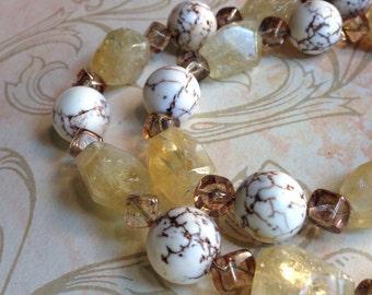 Stone Necklace Lemon Quartz Magnesite Glass Beaded Necklace Brown Yellow Neutral Natural Elements Spiritual Earthy