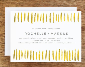 Printable Wedding Invitations - Gold Brush Strokes - Gold Printable Wedding Invite Template -  Gold Strokes Invitation - Black & Gold