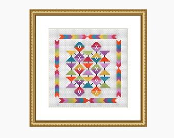Cross stitch pattern, modern cross stitch, GEOMETRIC AZTEC cross stitch chart - Downloadable PDF