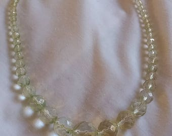 1950s glass bead necklace, almost clear with the slightest hint of mint green, original clasp and in immaculate condition.