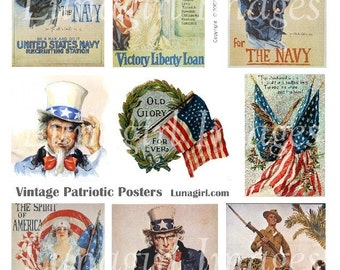 PATRIOTIC POSTERS digital collage sheet, vintage images Americana flags Uncle Sam July 4th Fourth Independence, retro art ephemera DOWNLOAD