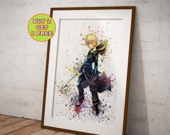 Roxas Kingdom Hearts Poster, Watercolor Game Art, Kingdom Hearts Print, Organization XIII, wall art, Watercolor wall decor OC-948