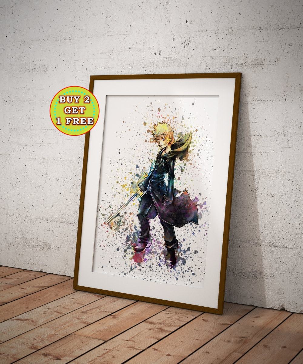Roxas kingdom hearts poster watercolor game art kingdom zoom jeuxipadfo Gallery