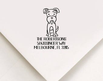 Schnauzer Return Address Stamp, Custom Stamp, Self Inking Stamp, Schnauzer Stamp, Custom Address Stamp, Housewarming Gift, Realtor Gift