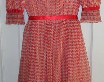 Beautiful Vintage Red and White Chiffon 3 layered dress 1950s, Rockabilly