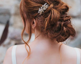 """Bridal Hair Comb, Wedding Hair Accessories - """"Bianca"""" Pearl, Rhinestone and Crystal Small Comb in Silver, Gold or Rose Gold"""