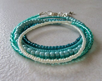 Wrap bracelet, Seed Bead Bracelet, Teal Bracelet, Green Beaded bracelet